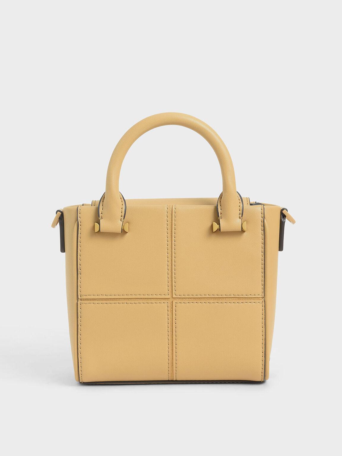 Textured Panelled Top Handle Bag, Yellow, hi-res