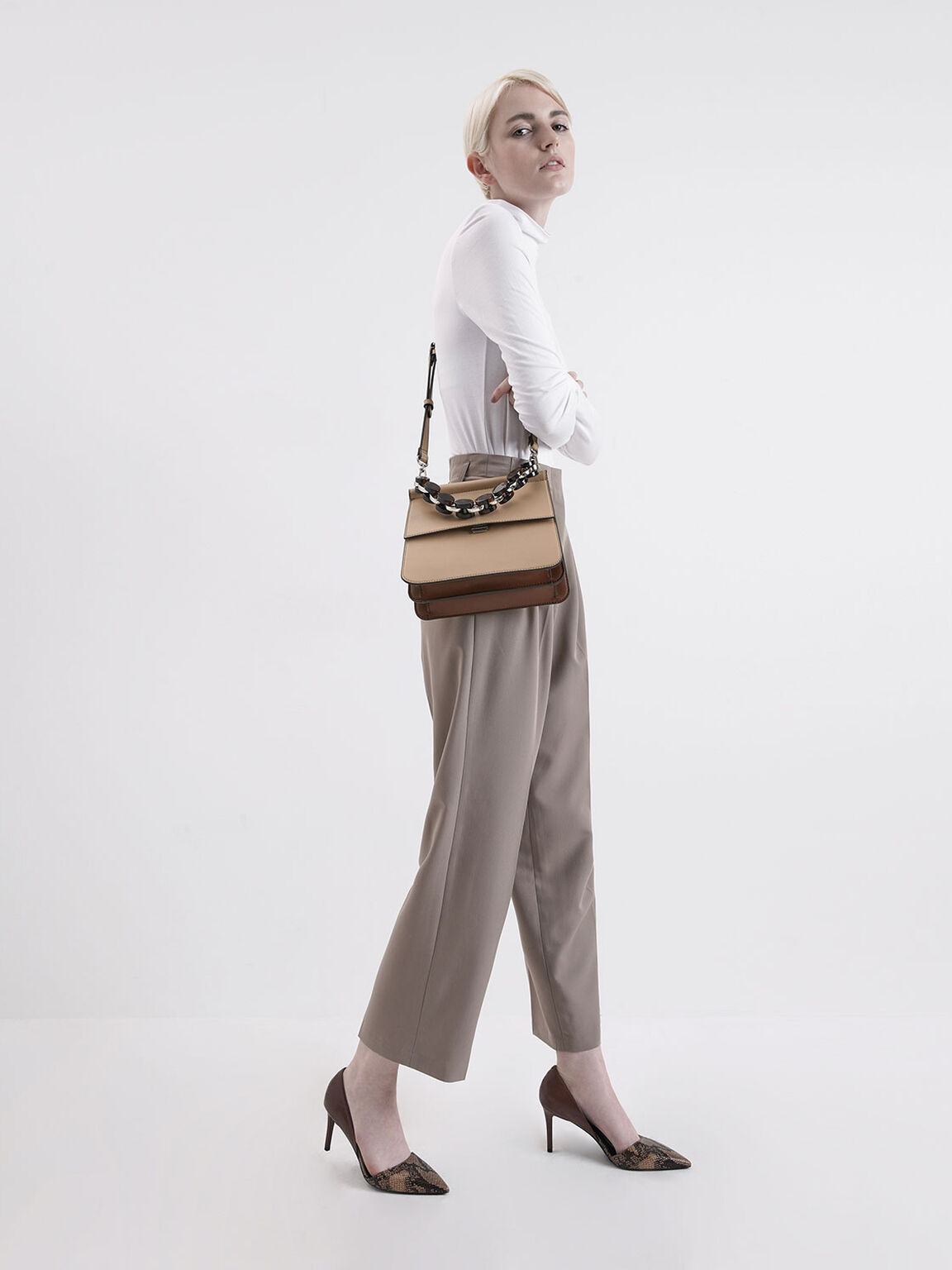 Acrylic Tortoiseshell Top Handle Bag, Beige, hi-res