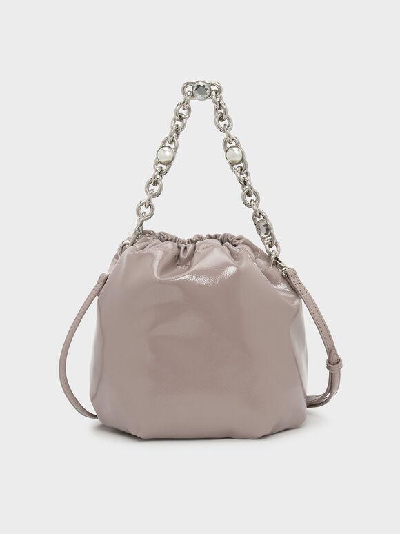 Chain Handle Bucket Bag, Nude, hi-res