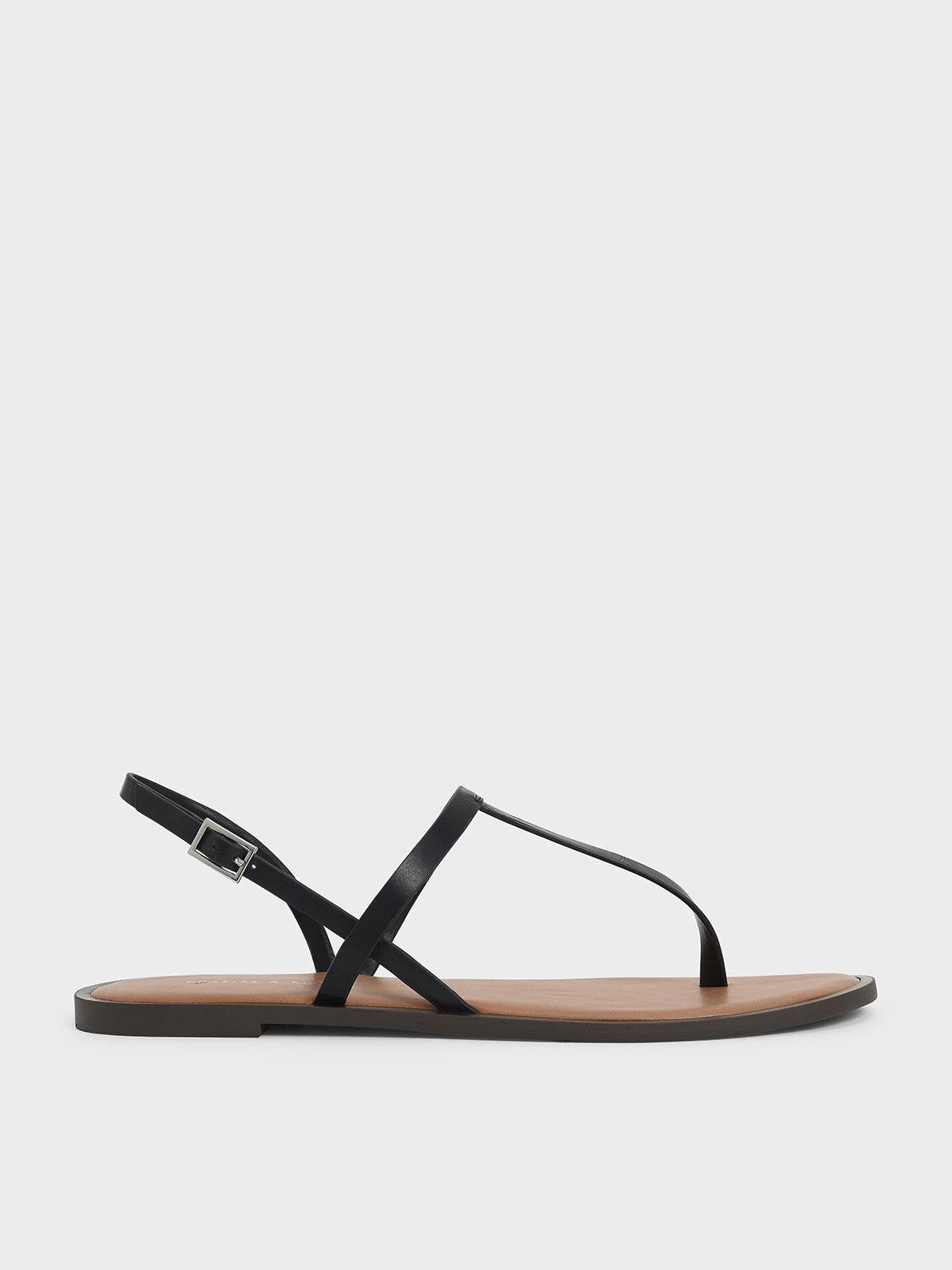 T-Bar Slingback Sandals, Black, hi-res