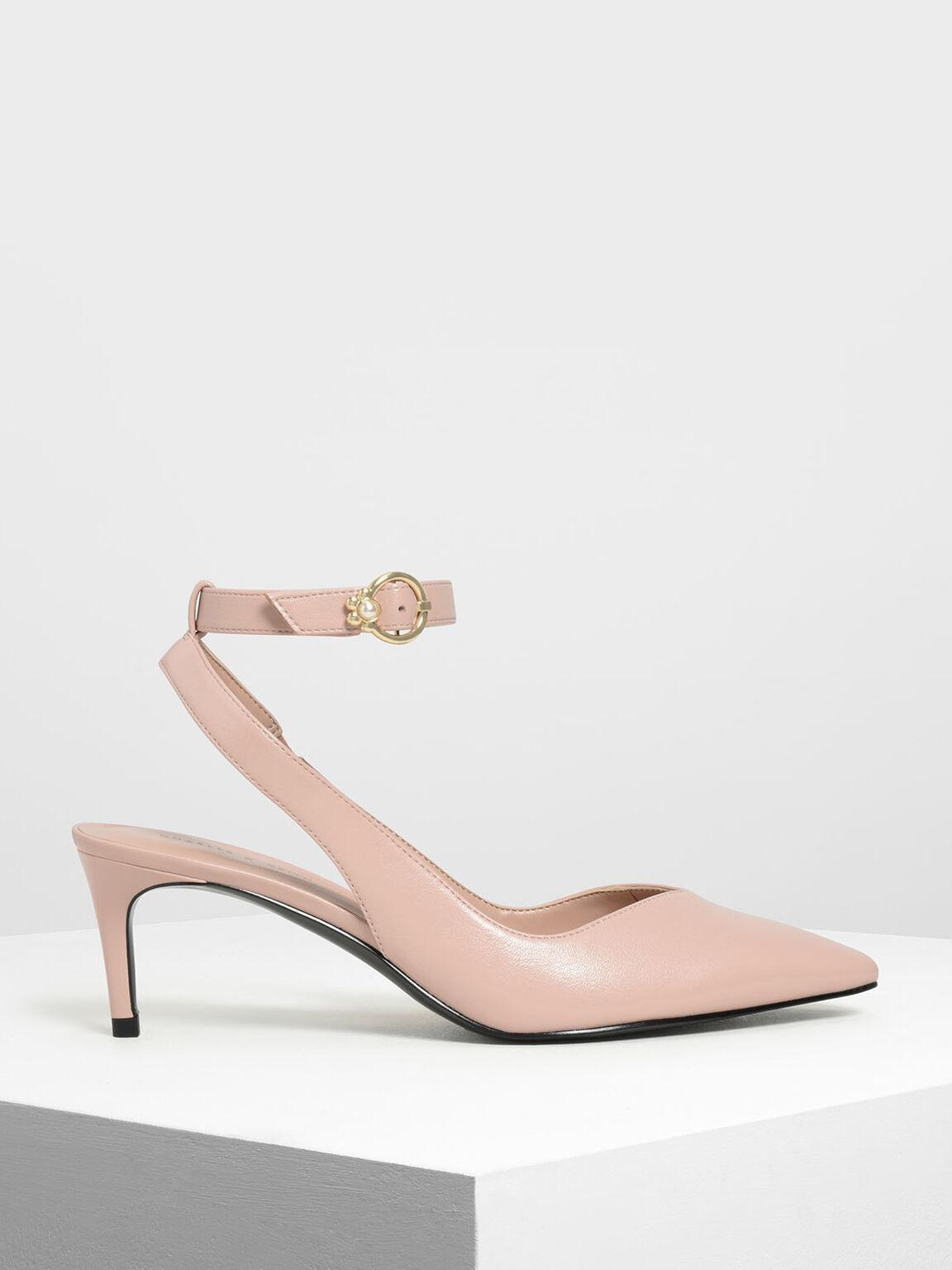 鑲嵌珍珠繞踝跟鞋, 蜜桃色, hi-res
