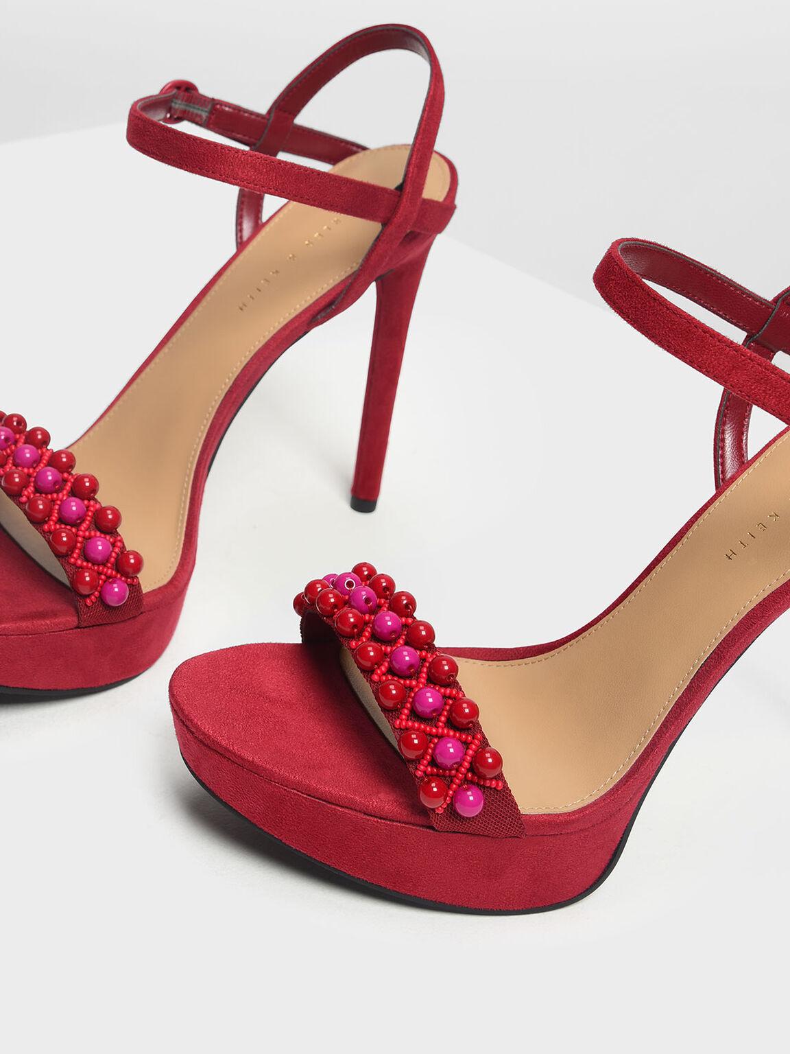 Embellished Platform Sandals, Red, hi-res