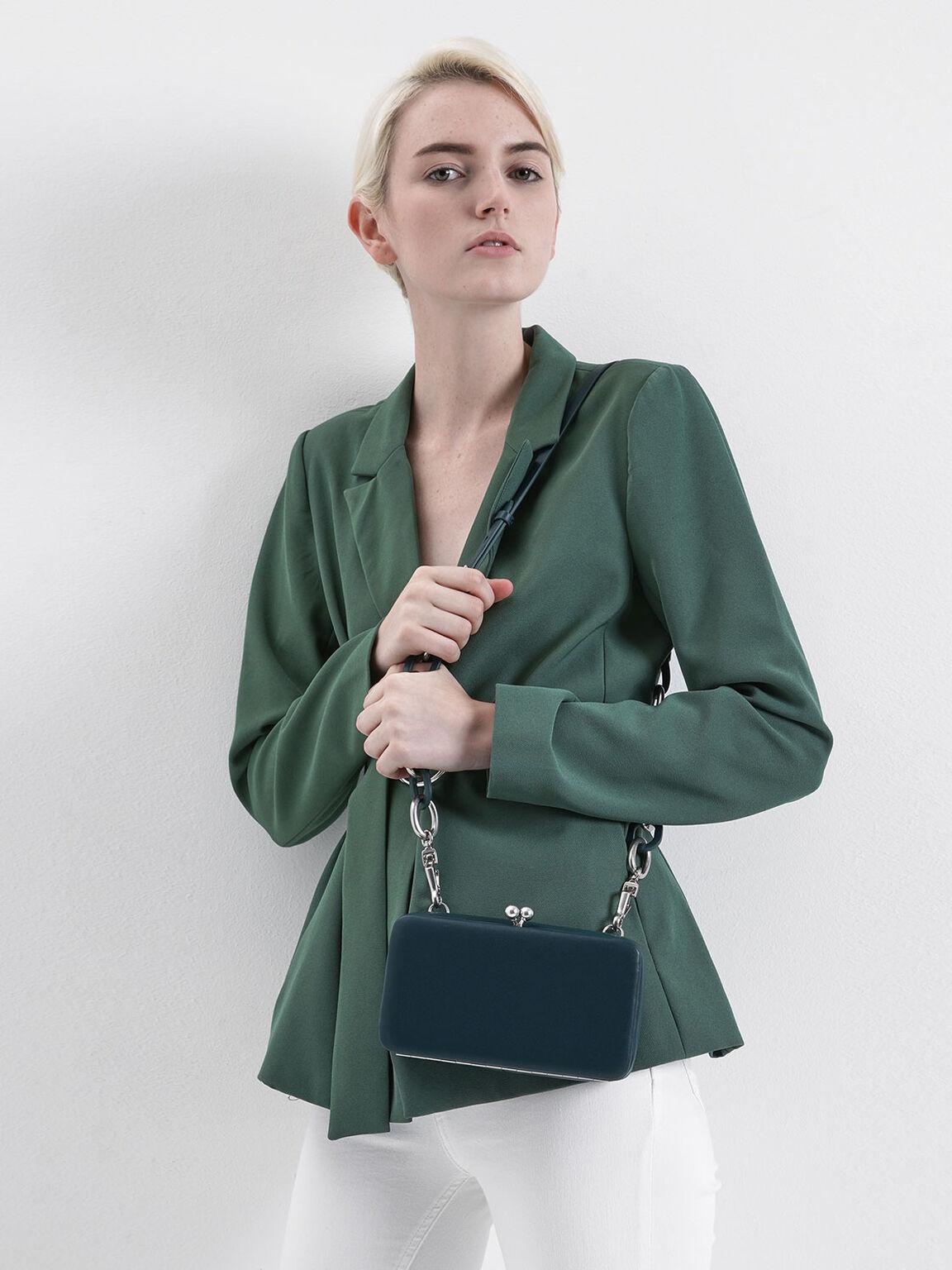 珠扣斜背包, 藍綠色, hi-res