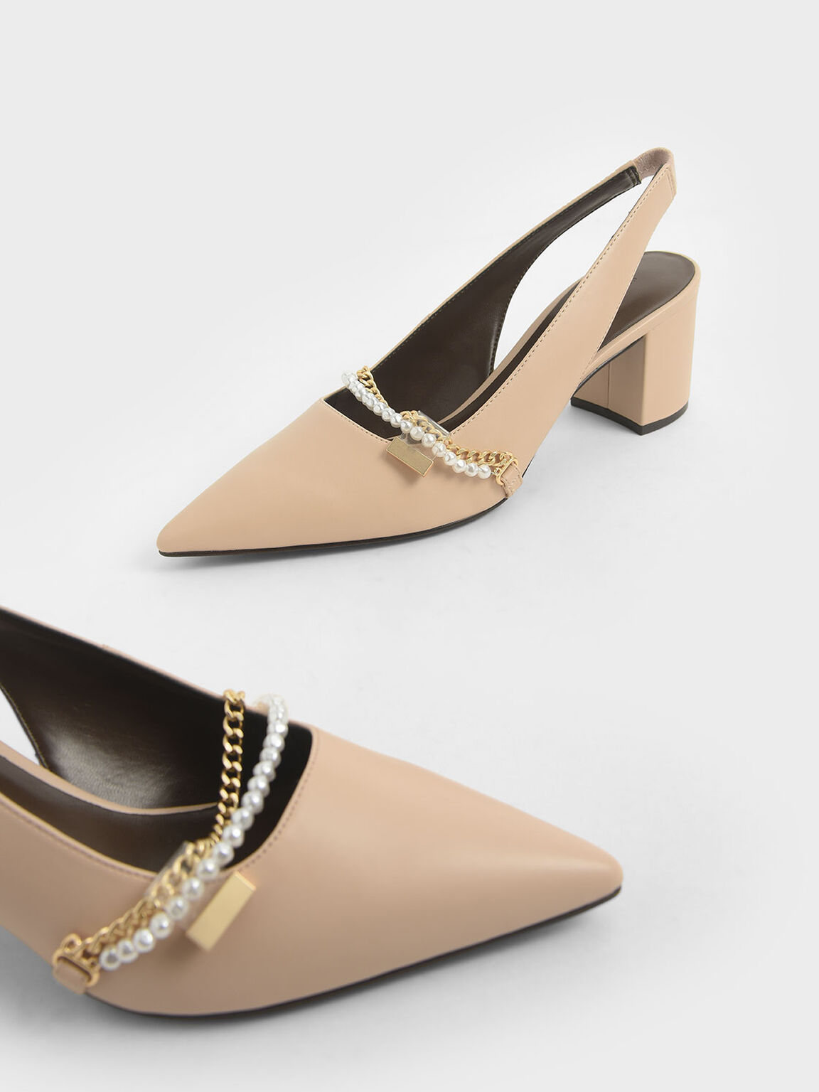 Embellished Slingback Pumps, Beige, hi-res