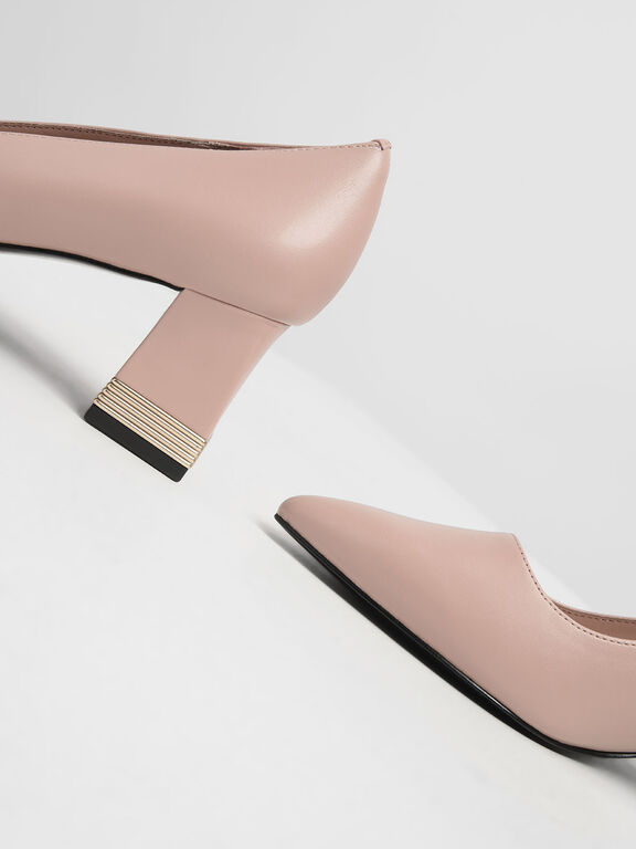 Metallic Accent Heel Pumps, Nude