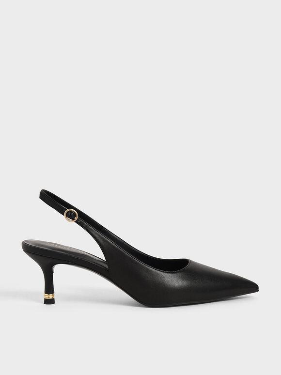 Pointed Toe Slingback Pumps, Black, hi-res