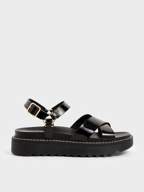 Patent Criss Cross Flatform Sandals, Black, hi-res
