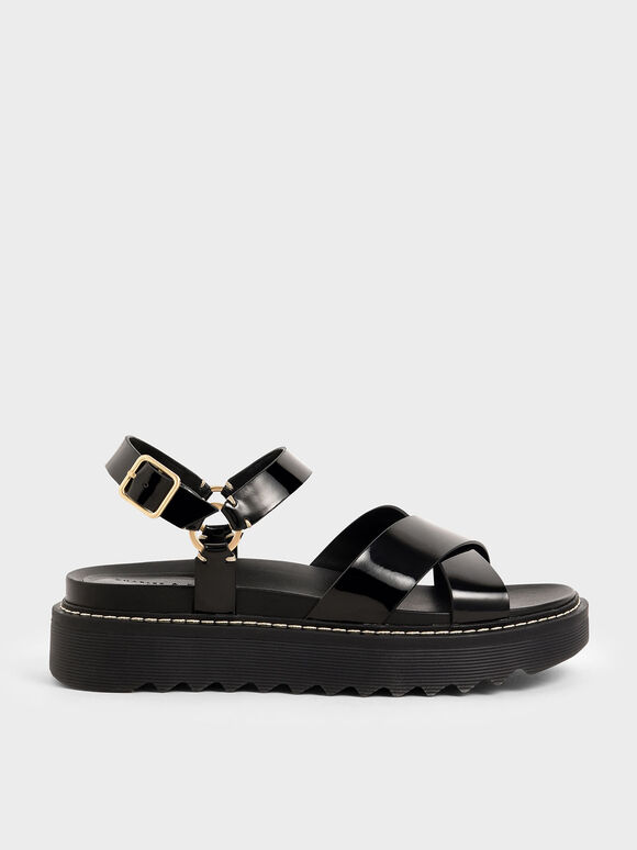 Patent Criss Cross Flatform Sandals, Black, hi-res