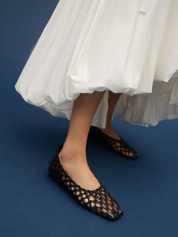 Woven Caged Ballerina Flats, Black, hi-res