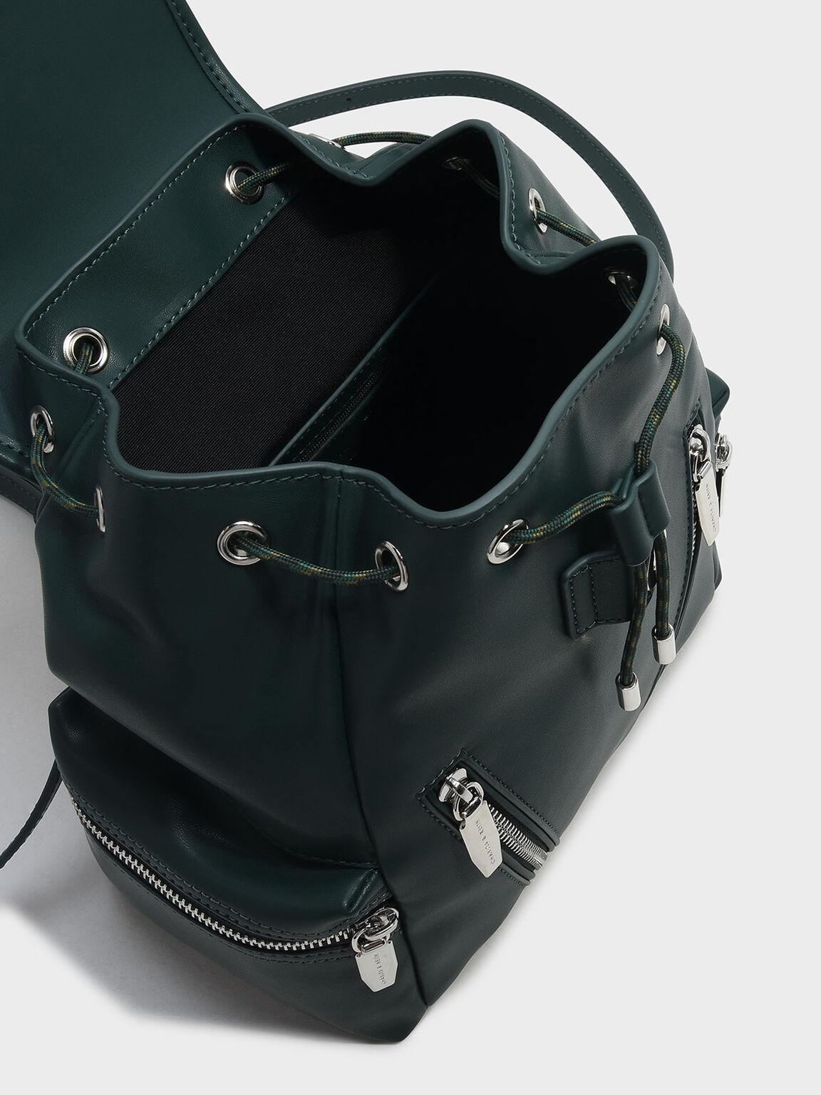 Printed Front Flap Backpack, Green, hi-res