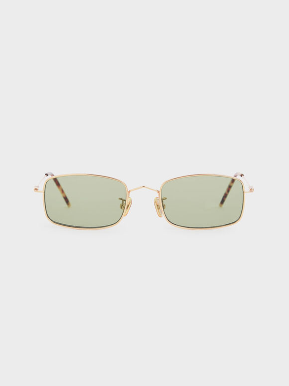 Rectangular Wireframe Sunglasses, Green, hi-res