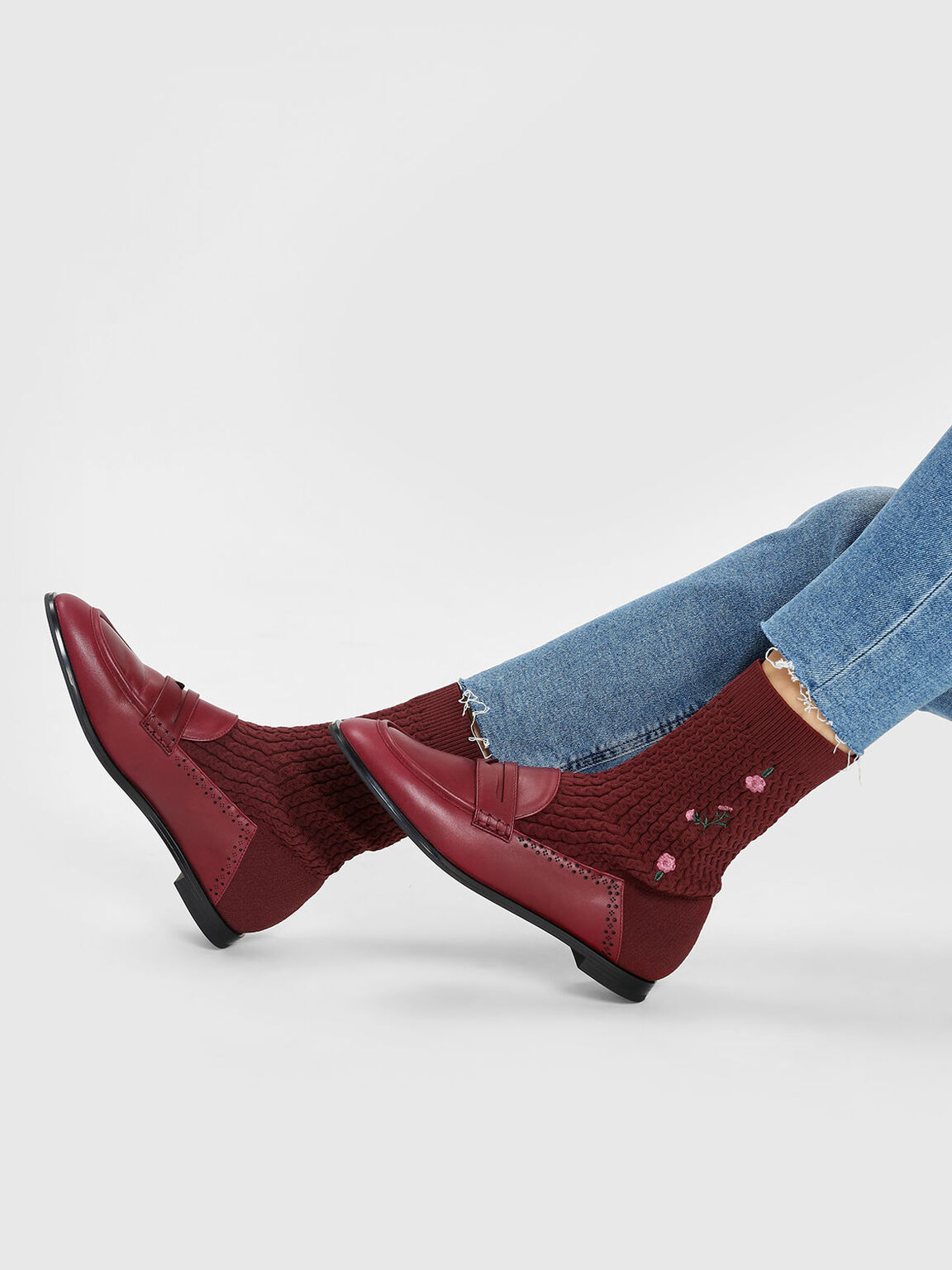 Leather Loafer Effect Sock Boots, Burgundy, hi-res