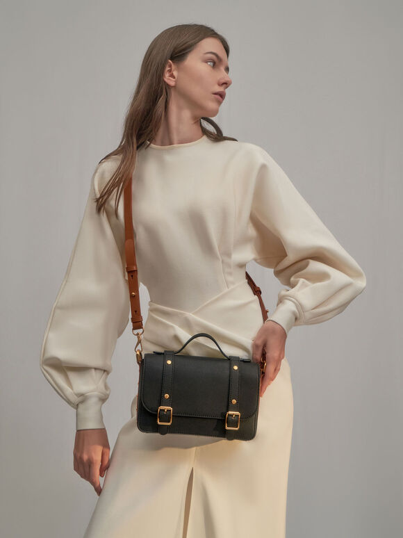 Satchel Messenger Bag, Black, hi-res