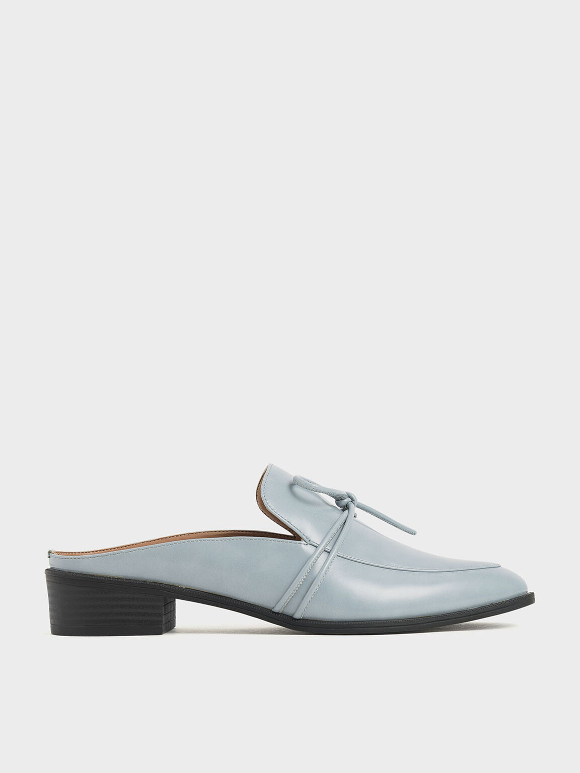 Almond Toe Knot Mules, Light Blue, hi-res