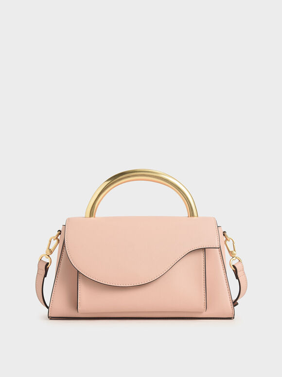 Angular Flap Metallic Top Handle Bag, Pink, hi-res