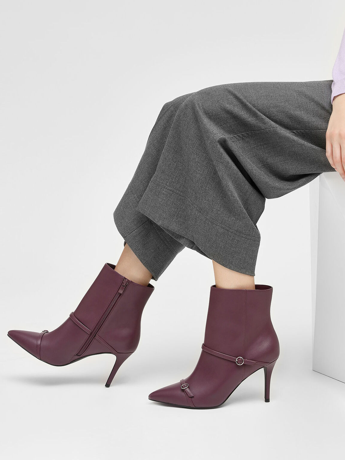 Double Strap Detail Pointed Boots, Purple, hi-res