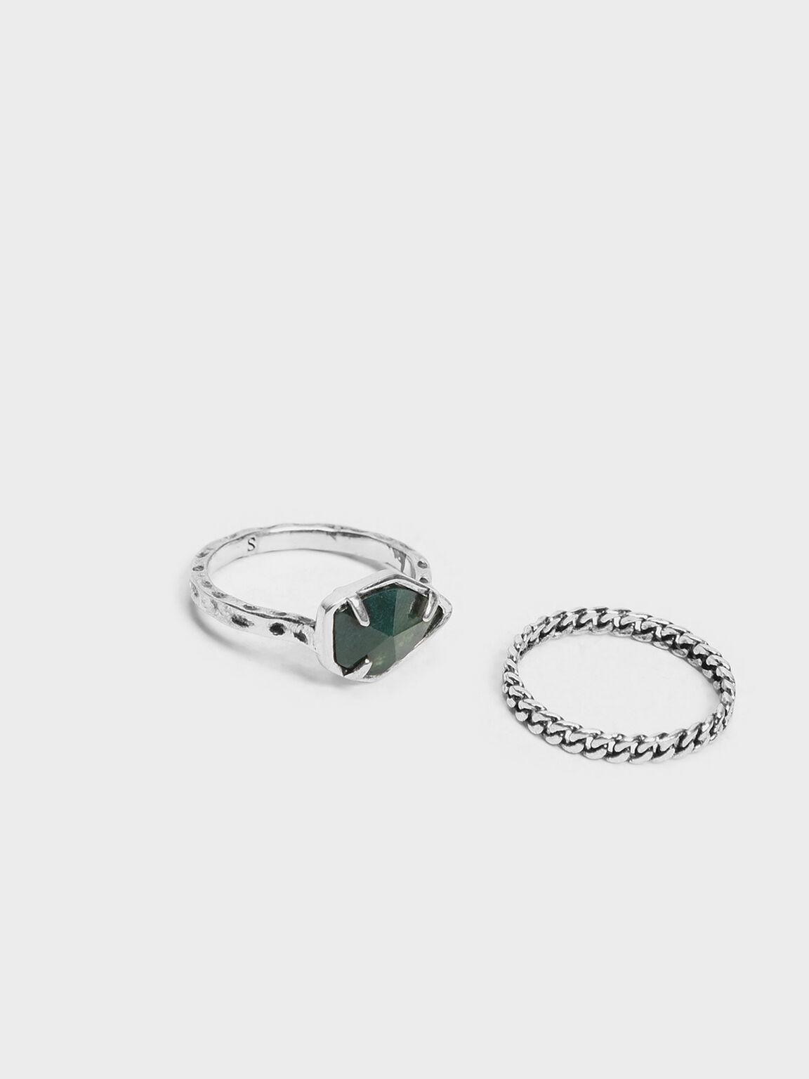 Semi-Precious Stone Chain Detail Ring Set, Grey, hi-res