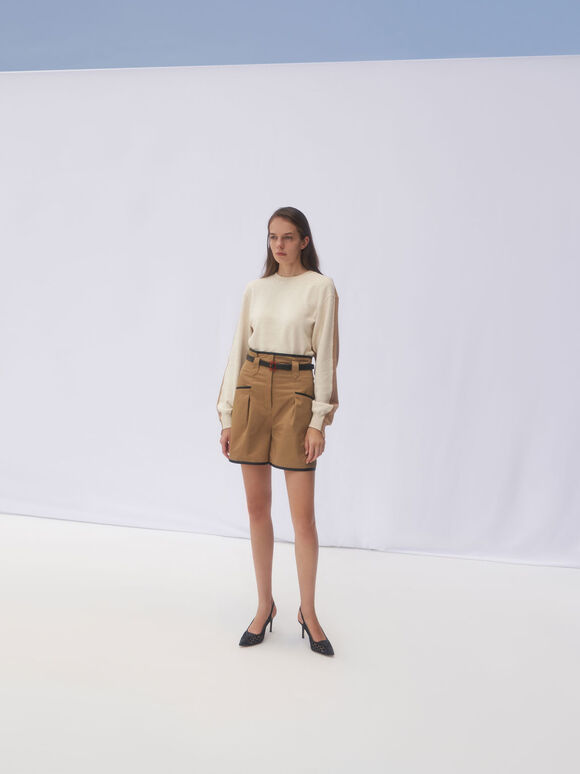 Crochet & Leather Slingback Pumps, Black, hi-res