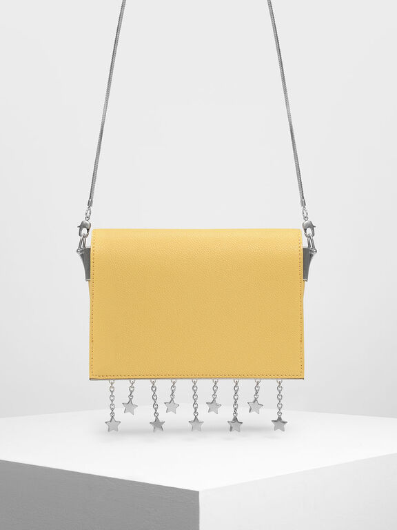 Charm Detail Crossbody Bag, Yellow