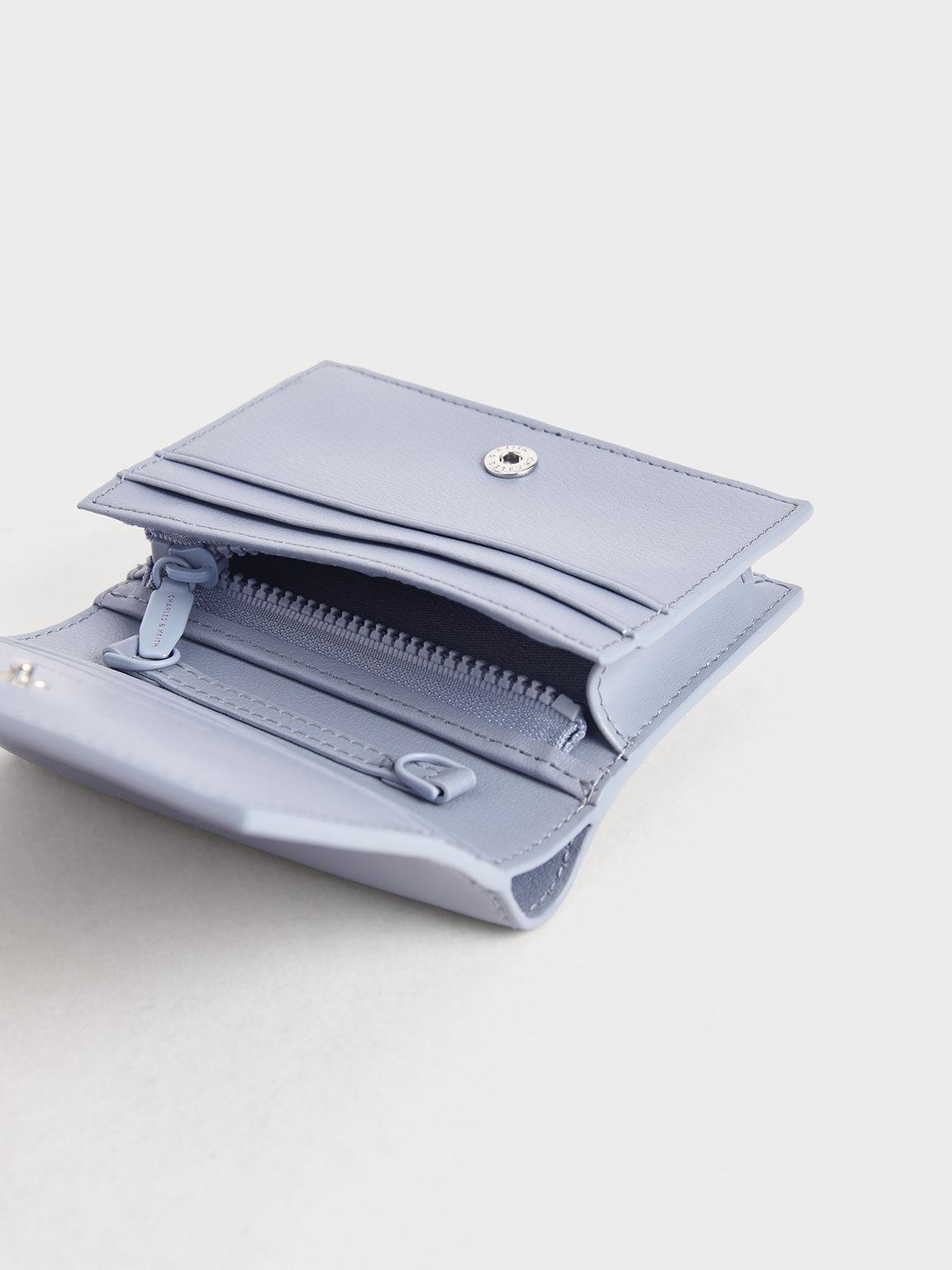 Snap Button Mini Short Wallet, Light Blue, hi-res