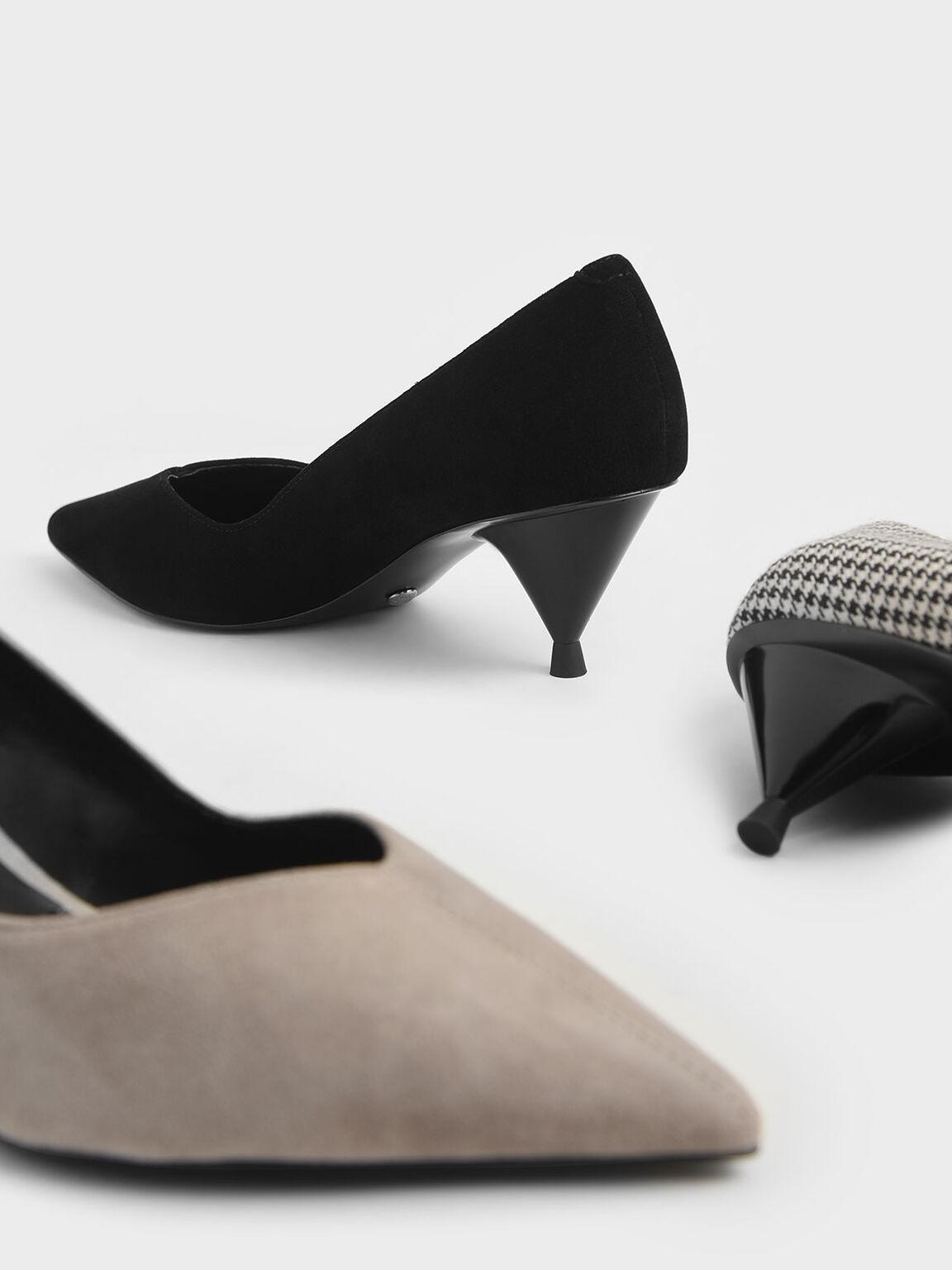 麂皮尖頭中跟鞋, 黑色, hi-res