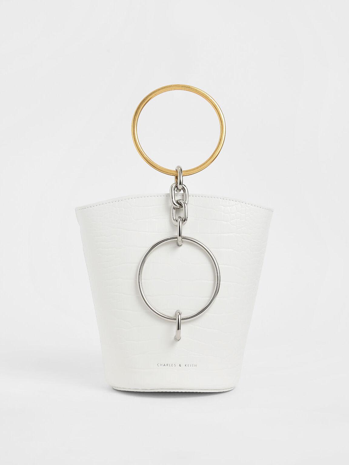 Croc-Effect Bracelet Bucket Bag, White, hi-res