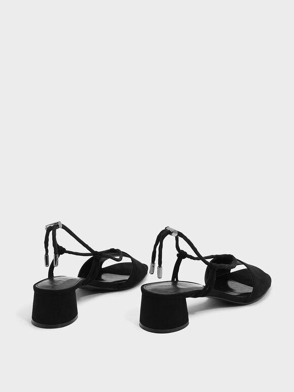 Textured Drawstring Sandals, Black, hi-res