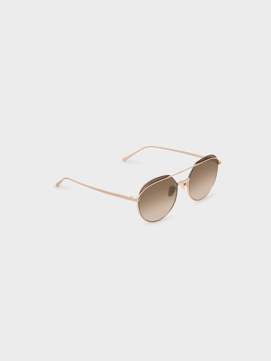 Double Bridge Wireframe Aviator Sunglasses, Rose Gold, hi-res