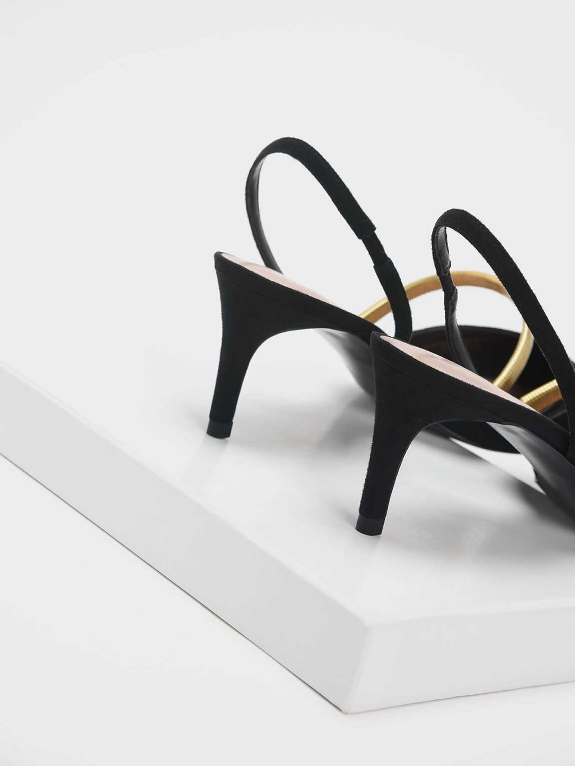 Gold Mary Jane Strap Textured Slingback Heels, Black, hi-res