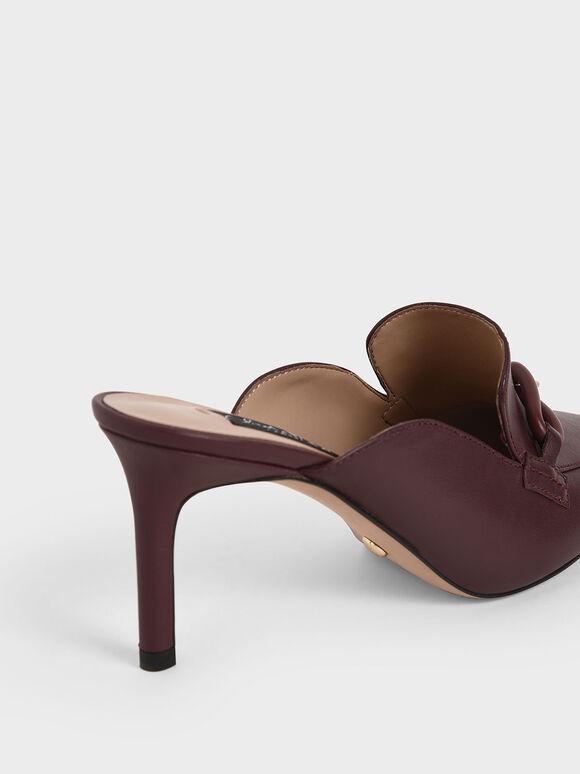 Embellished Leather Mules, Burgundy, hi-res