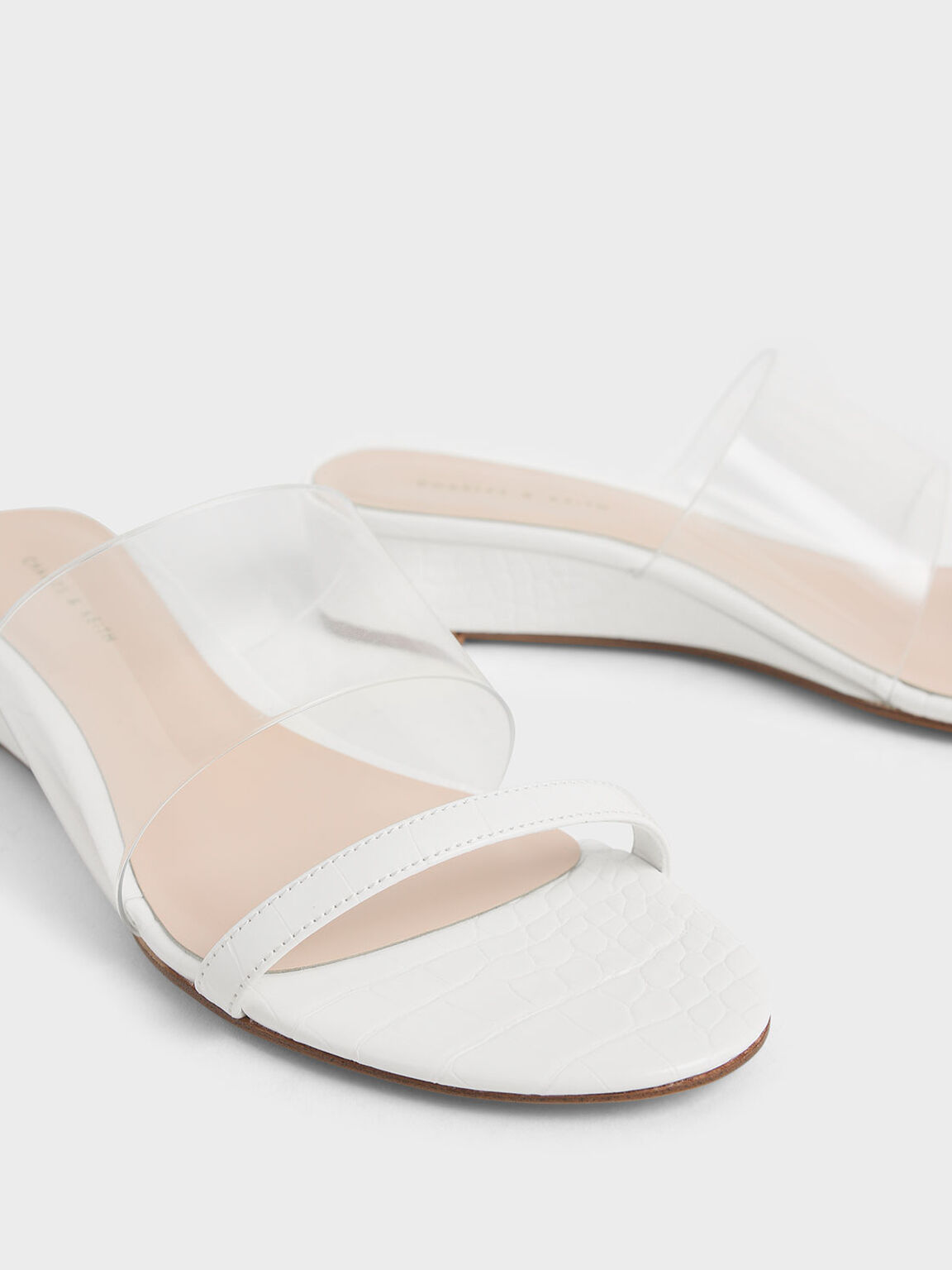 Croc-Effect Low Wedges, White, hi-res