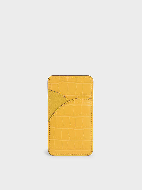 Croc-Effect Elongated Card Holder, Yellow, hi-res