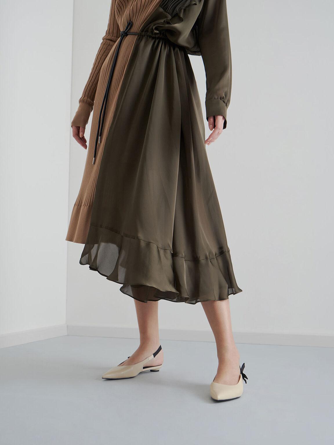리본 타이 슬링백 플랫, 초크, hi-res