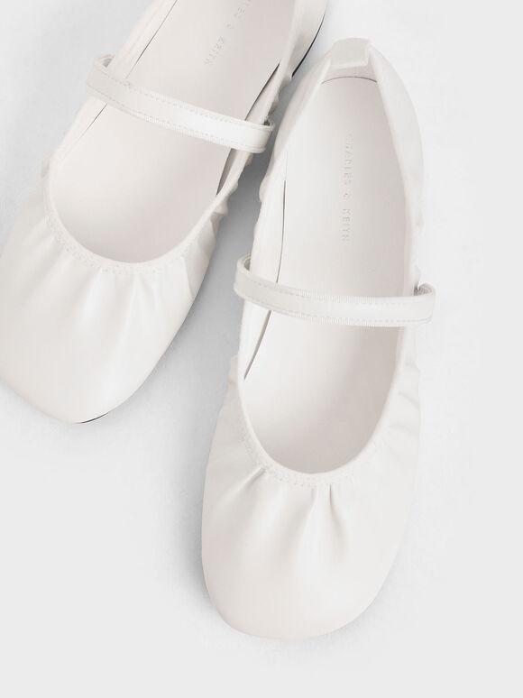 Mary Jane Flats, White, hi-res