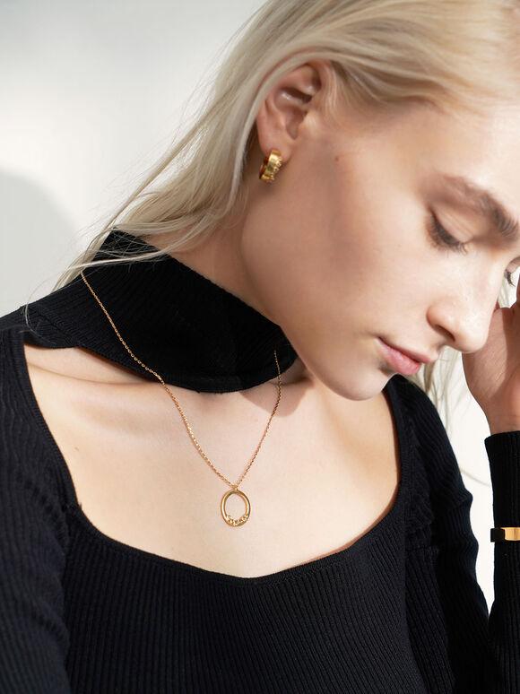 Swarovski® Crystal Studded Hoop Earrings, Gold, hi-res