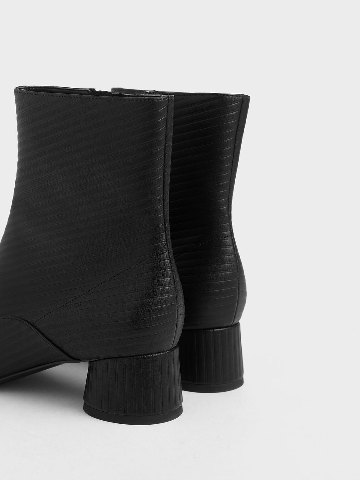 Embossed Cylindrical Heel Ankle Boots, Black, hi-res