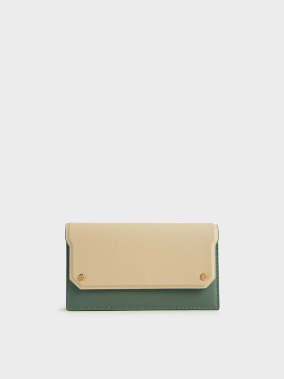 Two-Tone Mini Long Wallet, Green, hi-res