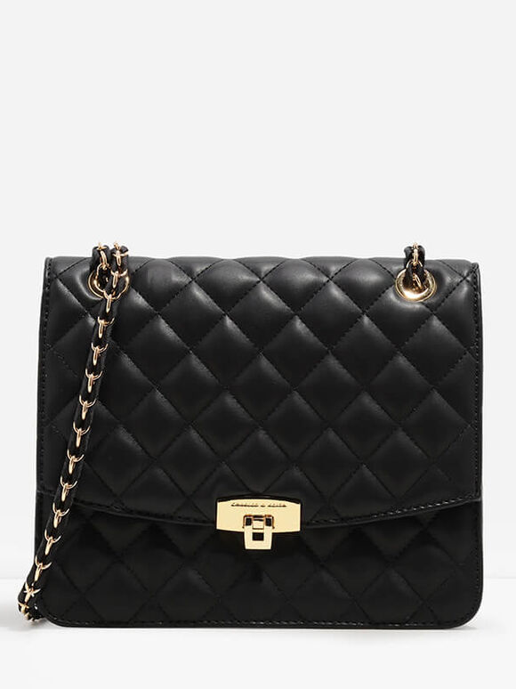 Quilted Push-Lock Clutch, Black, hi-res