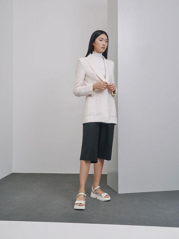 Mesh & Grosgrain Flatform Sandals, White, hi-res