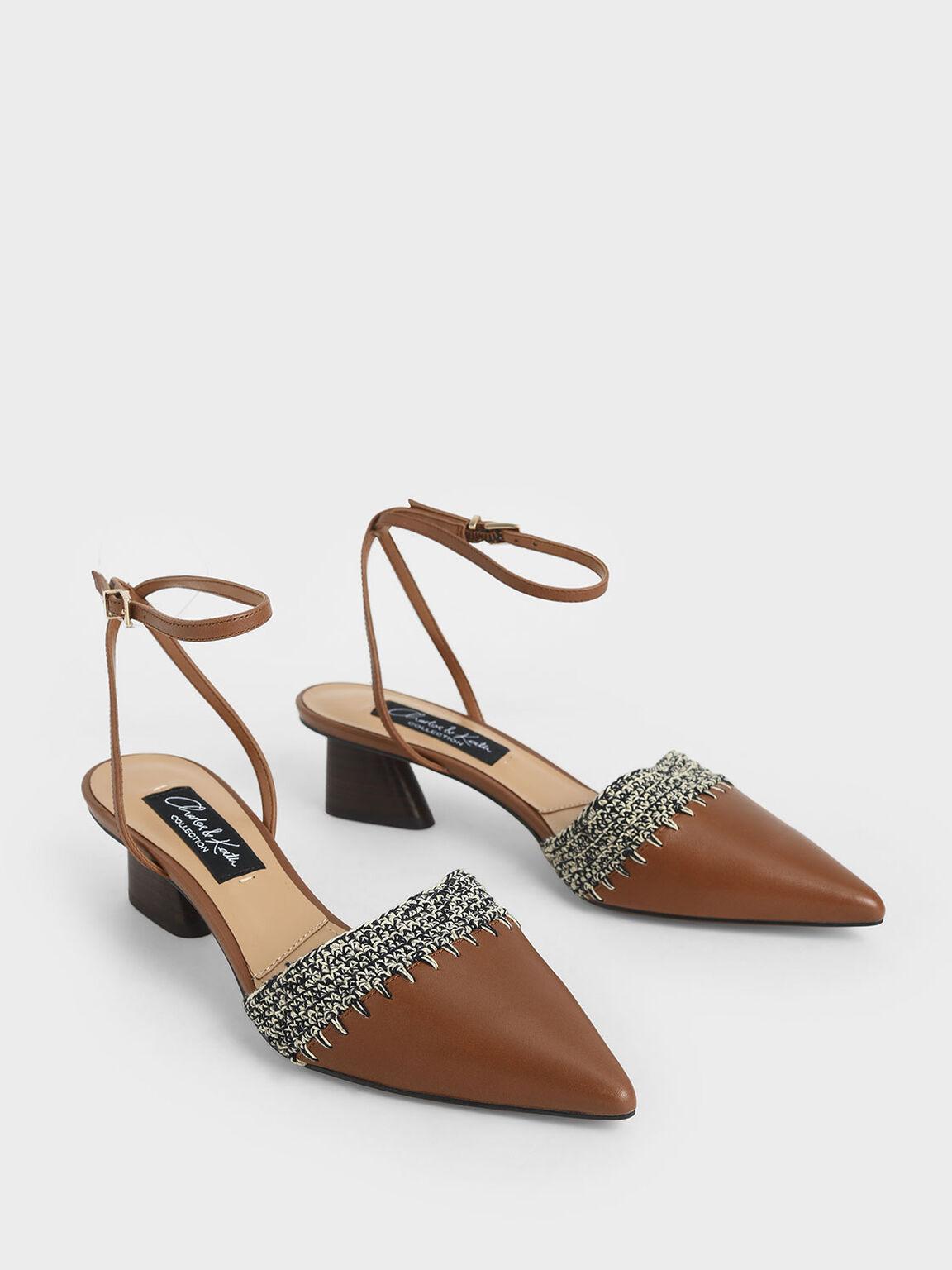 真皮鉤針低跟鞋, 咖啡色, hi-res