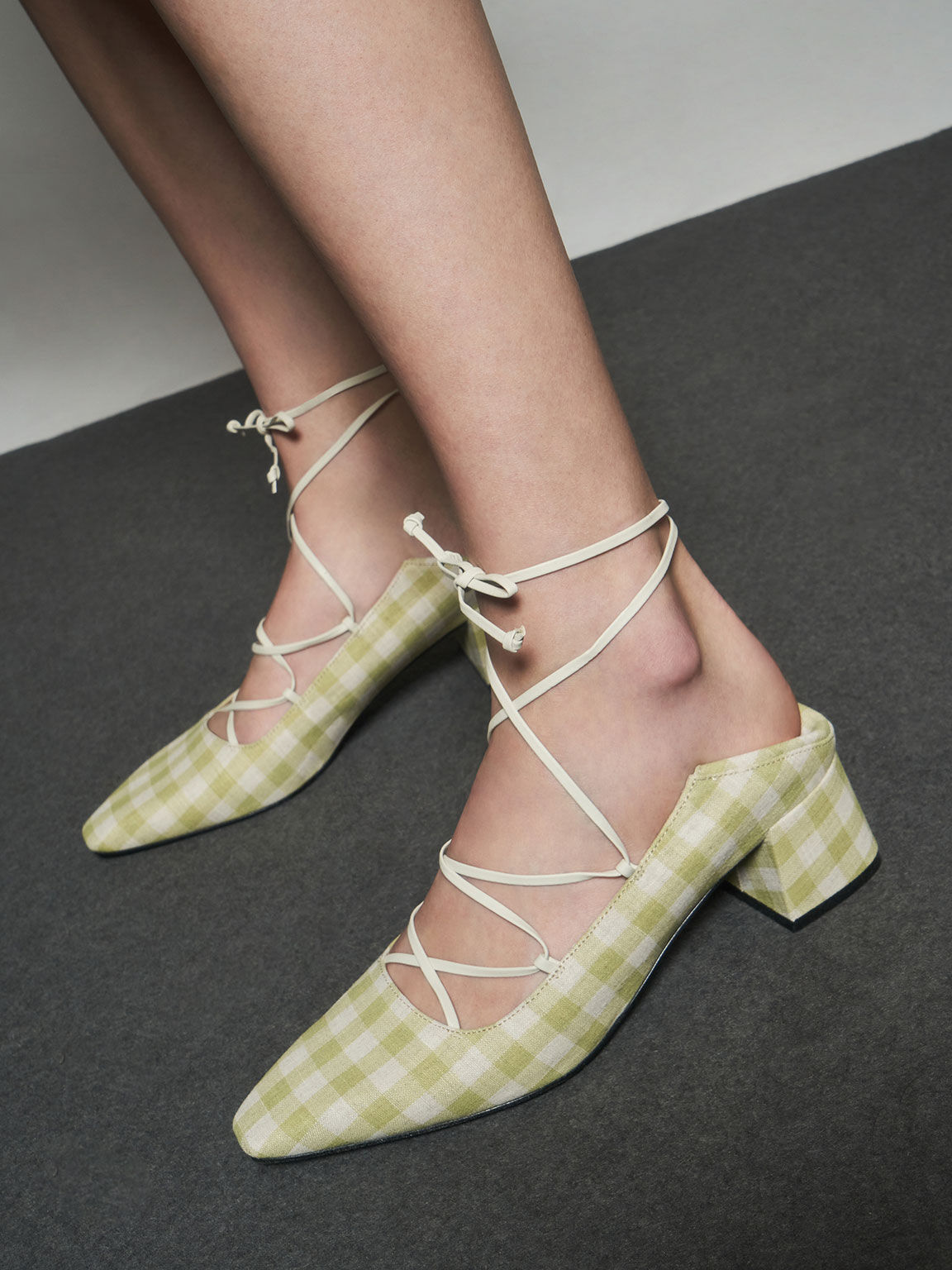 Woven Gingham Ankle Tie Pumps, Green, hi-res
