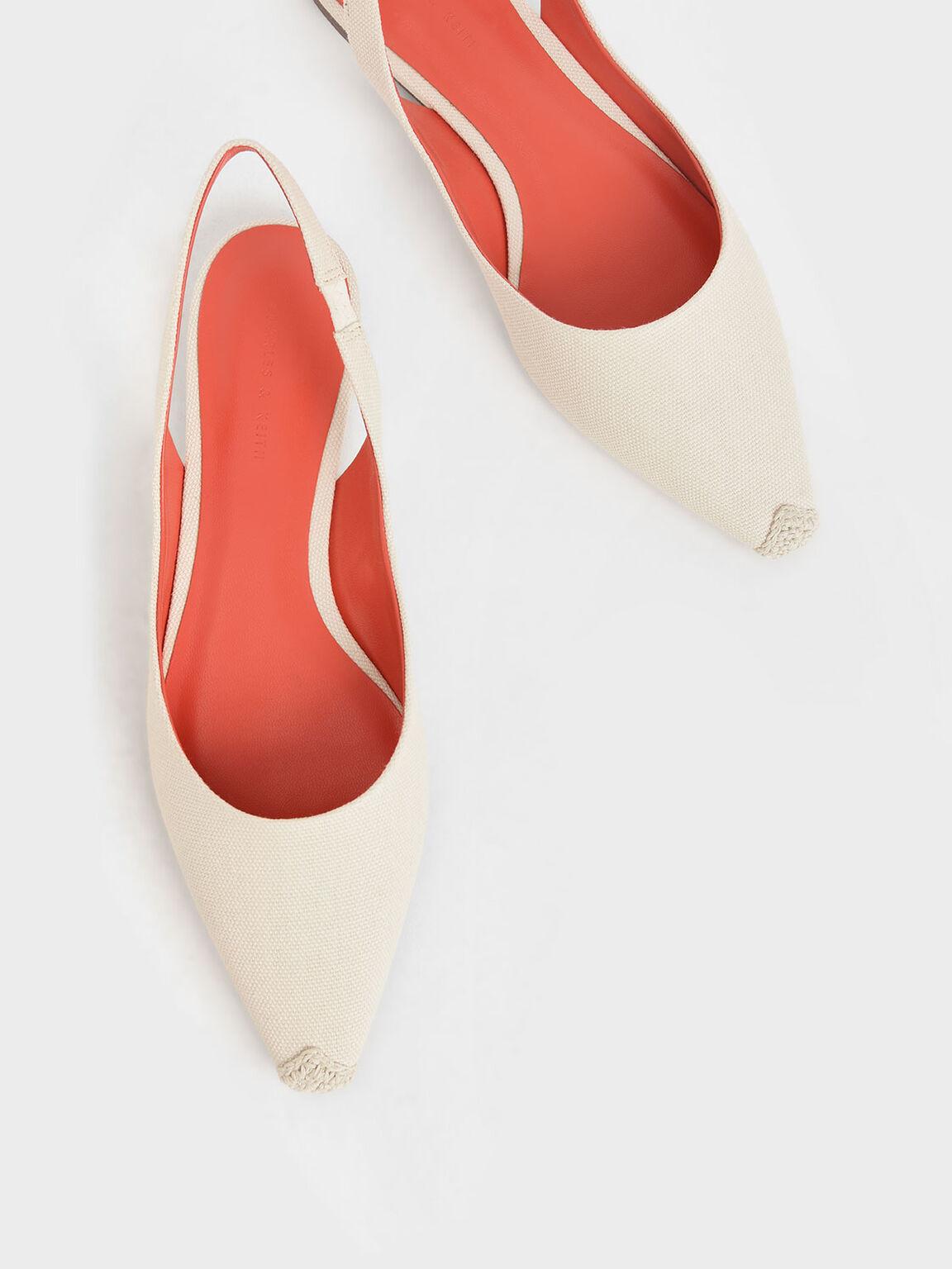 麻繩拼接平底鞋, 奶油色, hi-res
