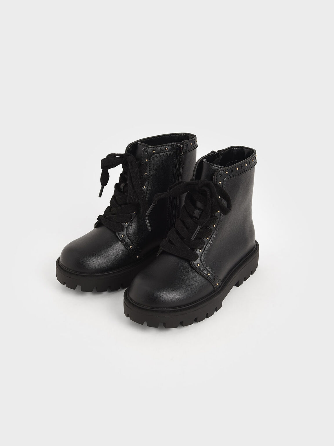Girls' Studded Lace-Up Ankle Boots, Black, hi-res