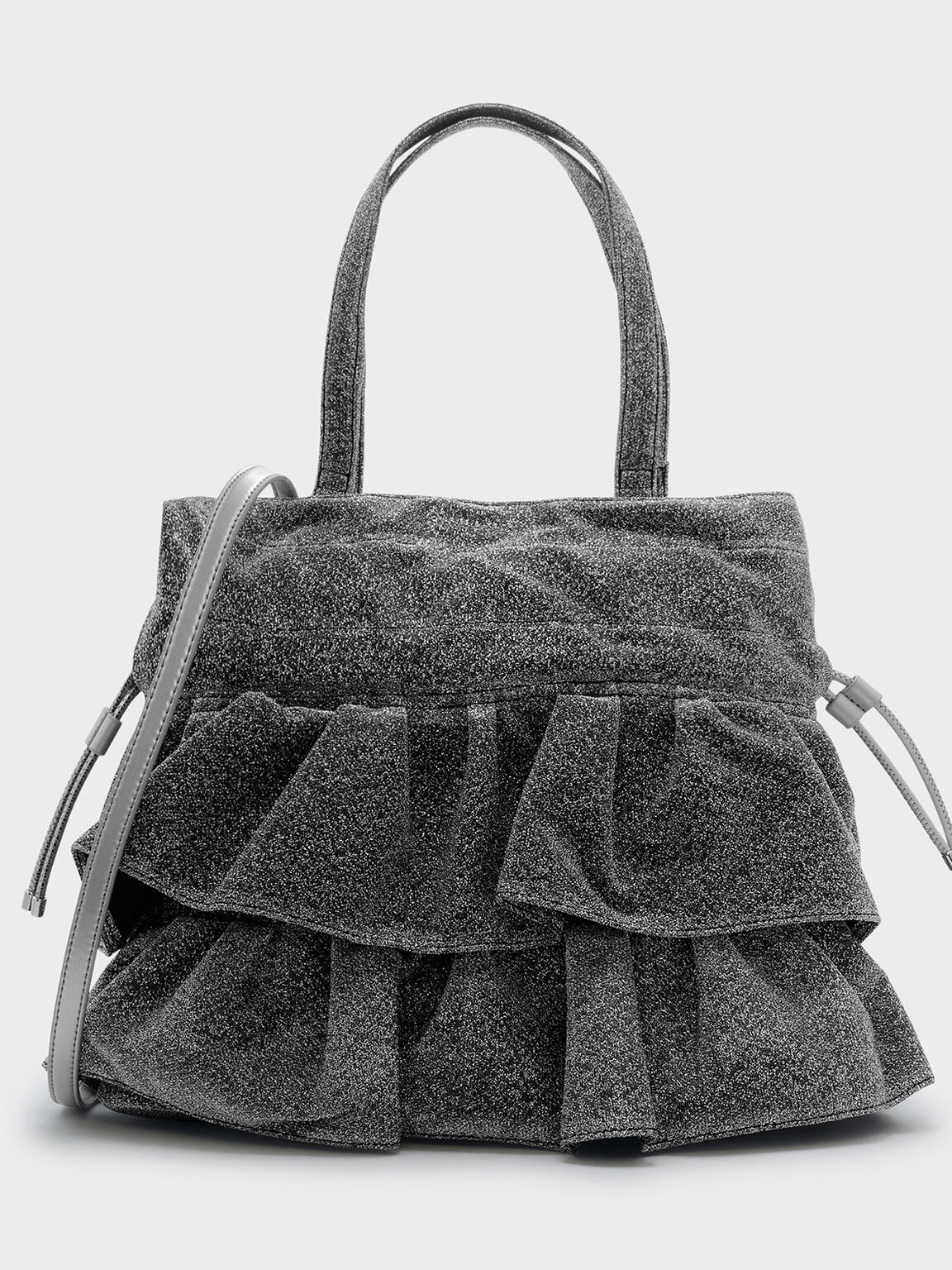 Ruffle Detail Shoulder Bag, Silver, hi-res