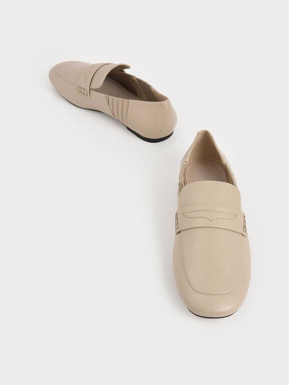 車縫線樂福鞋, 米黃色, hi-res