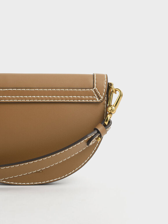 Front Flap Semi-Circle Crossbody Bag, Camel, hi-res