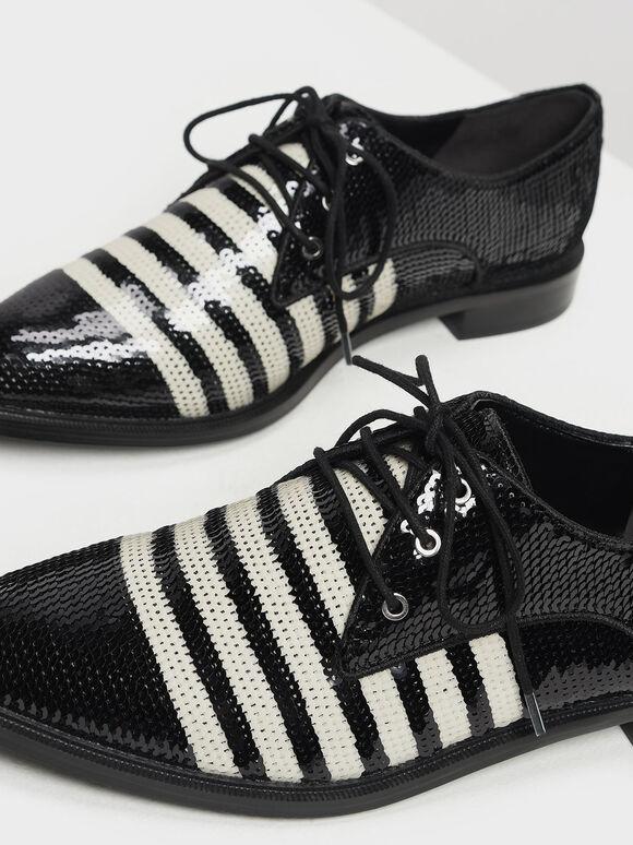 Sequin Derby Shoes, Black Textured, hi-res