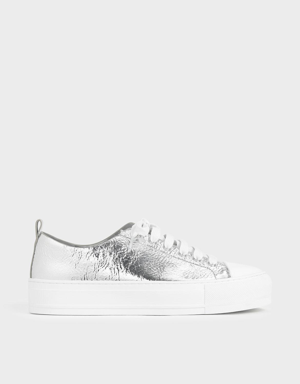 Silver Metallic Platform Sneakers