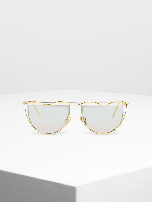 Drop Temple Semi-Circle Sunglasses, Multi, hi-res