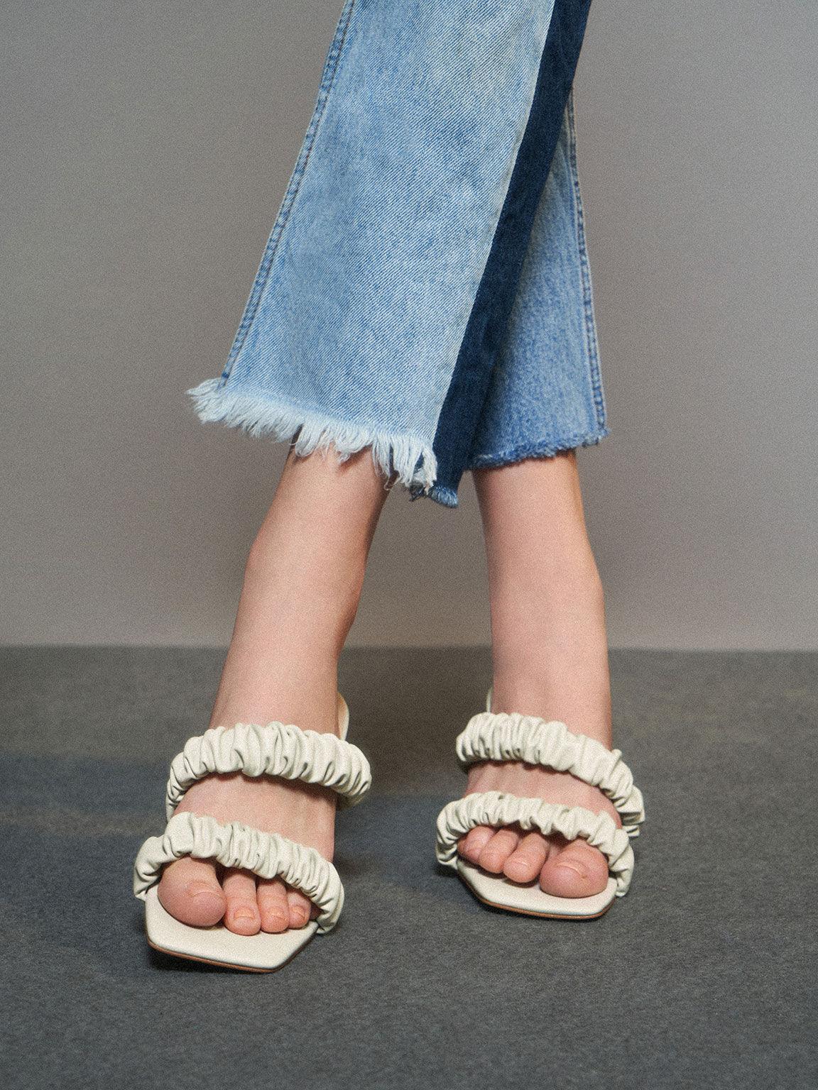 皺褶雙帶拖鞋, 白色, hi-res